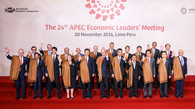 Asia-Pacific Economic Cooperation (APEC) leaders pose for a group picture in Lima, Peru on November 20, 2016. [Photo/Xinhua]