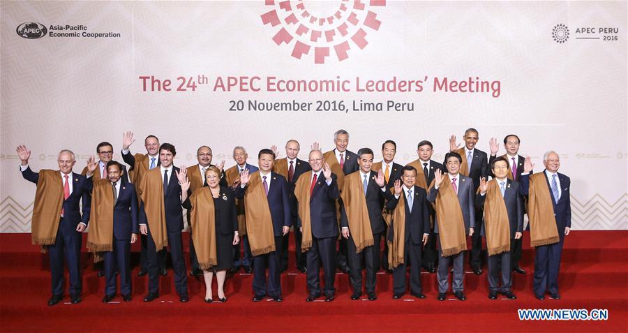 LIMA, 21 novembre (Xinhua) -- Le président chinois Xi Jinping (cinquième à gauche, premier rang) pose pour une photo de groupe avec d