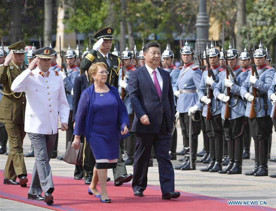 Chinese President Xi Jinping(3rd L F) attends a welcoming ceremony held by Chilean President Michelle Bachelet (2nd L F) in Santiago, capital of Chile, Nov. 22, 2016. (Xinhua/Wang Ye)