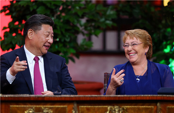 President Xi Jinping and Michelle Bachelet, Chile