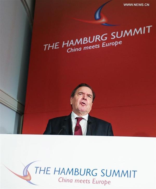 الصورة الملتقطة في 23 نوفمبر، تفتتح قمة هامبورج السابعة لمناقشة العلاقات الاقتصادية بين الصين والاتحاد الأوروبي في هامبورج