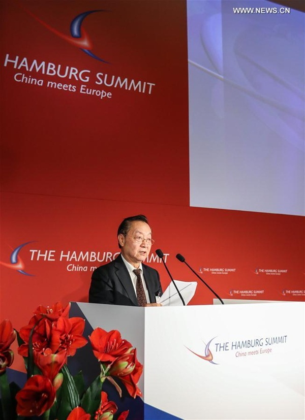الصورة الملتقطة في 23 نوفمبر، تفتتح قمة هامبورج السابعة لمناقشة العلاقات الاقتصادية بين الصين والاتحاد الأوروبي في هامبورج.
