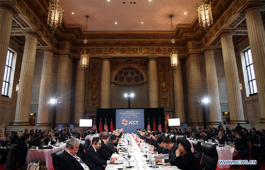 The 27th Session of the China-U.S. Joint Commission on Commerce and Trade (JCCT) is held in Washington D.C., capital of the United States, on Nov. 23, 2016. (Xinhua/Yin Bogu)
