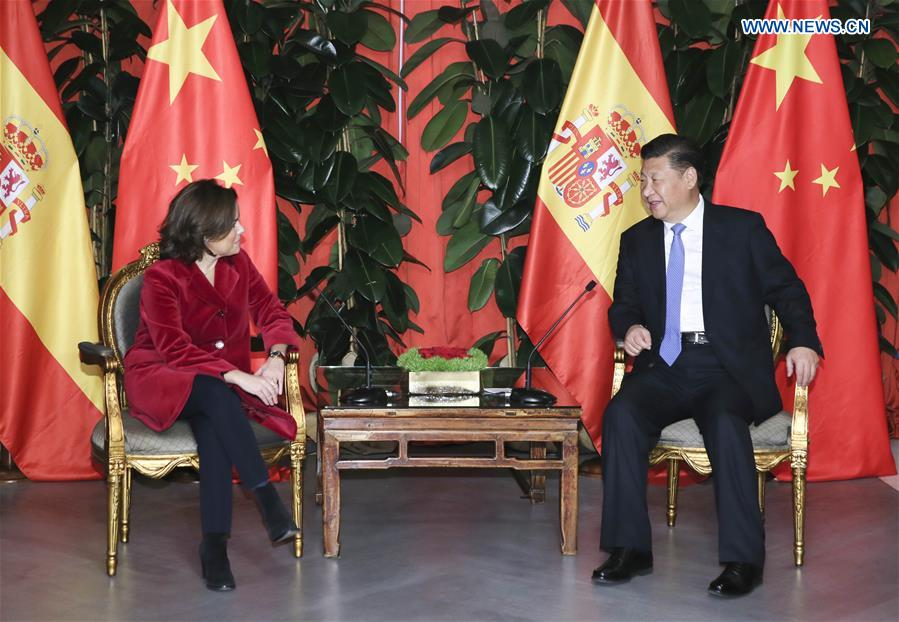 Presidente Xi se reúne con vicepresidenta de España