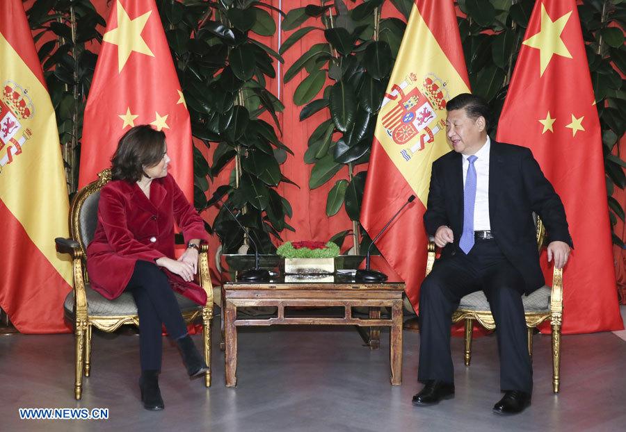 Le président chinois rencontre la vice-Première ministre espagnole
