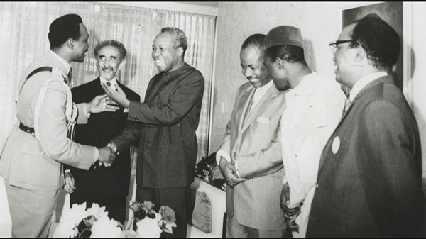 The Emperor with other African leaders, like Mwalimu Julius Nyerere of Tanzania. The Emperor encouraged the leaders towards the formation of Organization of African Union (O.A.U) today known as African Union (A.U.)