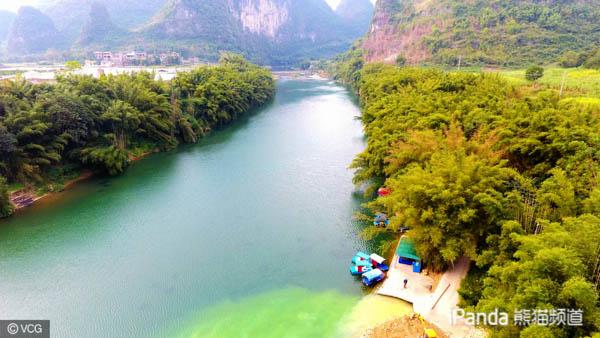 航拍刘三姐故乡 广西宜州下枧河畔冬日美景