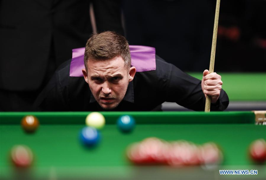 Jamie Jones of Wales reacts during the third round match with Ding Junhui of China at the Snooker UK Championship in York, Britain on Nov. 29, 2016. Jamie Jones won 6-2. (Xinhua/Han Yan)