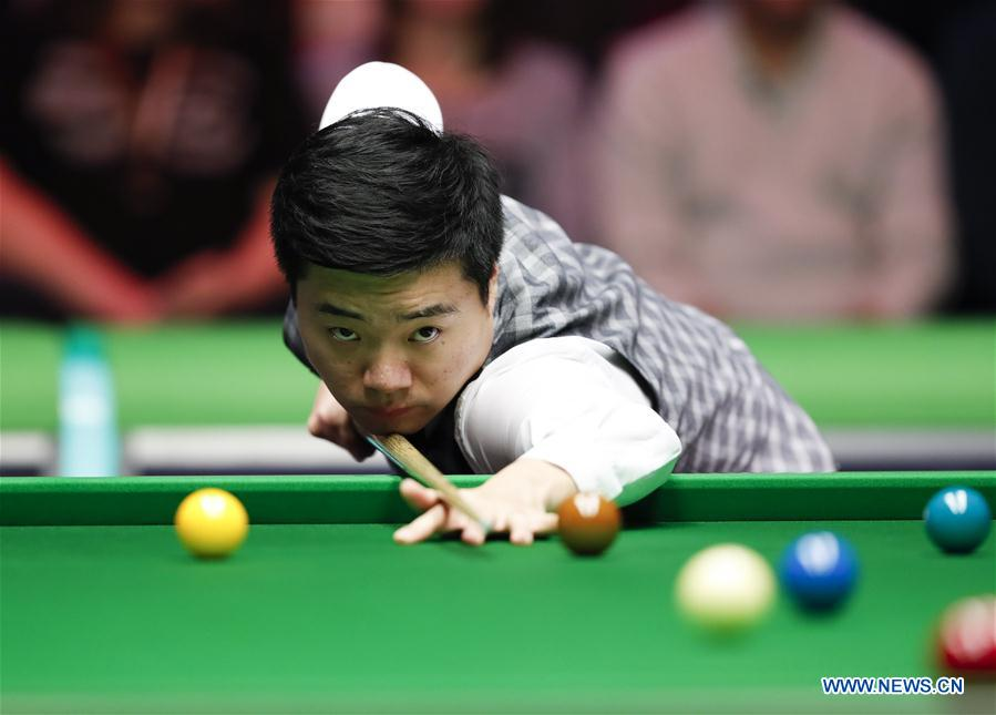 Ding Junhui of China competes during the third round match with Jamie Jones of Wales at the Snooker UK Championship in York, Britain on Nov. 29, 2016. Ding lost 2-6. (Xinhua/Han Yan)