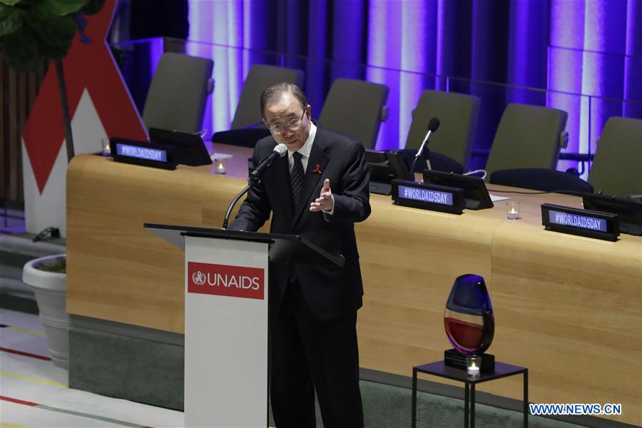 UN Secretary-General Ban Ki-moon addresses an event to mark the World AIDS Day at the UN headquarters in New York, on Nov. 30, 2016. UN Secretary-General Ban Ki-moon on Wednesday called for tolerance, awareness and helping the vulnerable people in the global efforts to fight the AIDS epidemic. (Xinhua/Li Muzi)