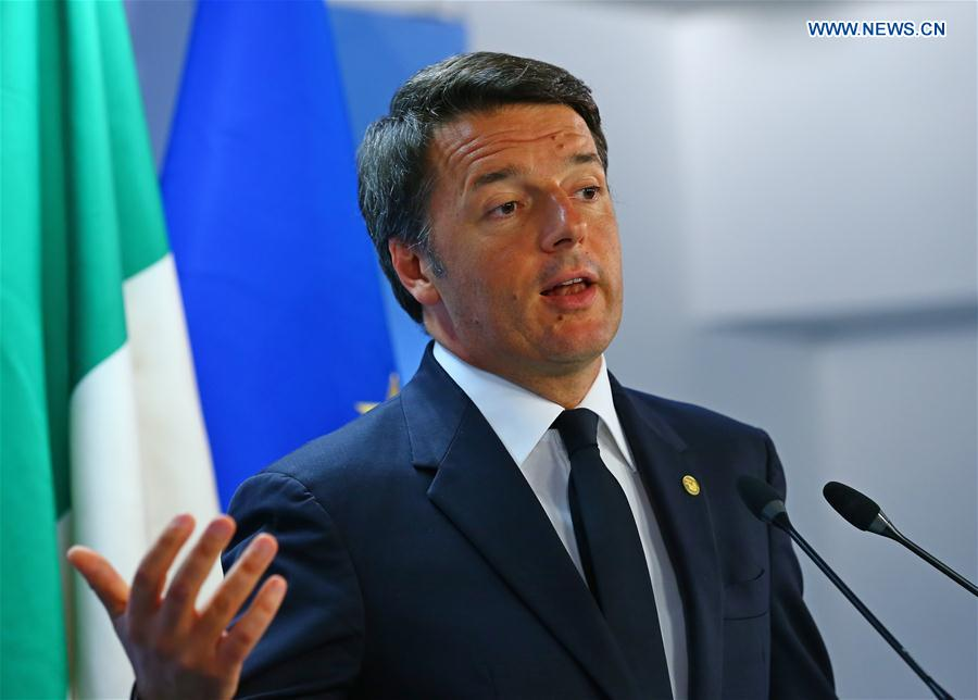 Photo taken on June 29, 2016 shows Italian Prime Minister Matteo Renzi attending a press conference at the EU headquarters in Brussels, Belgium. Italian Prime Minister Matteo Renzi on early Dec. 5 announced resignation, as exit polls suggested a large defeat in the referendum on cabinet-backed constitutional reform which was held on Sunday. (Xinhua/Gong Bing)