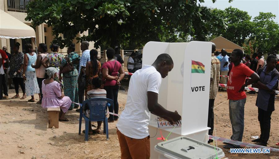 A voter casts his ballot in Accra, Ghana, on Dec. 7, 2016. Ghana