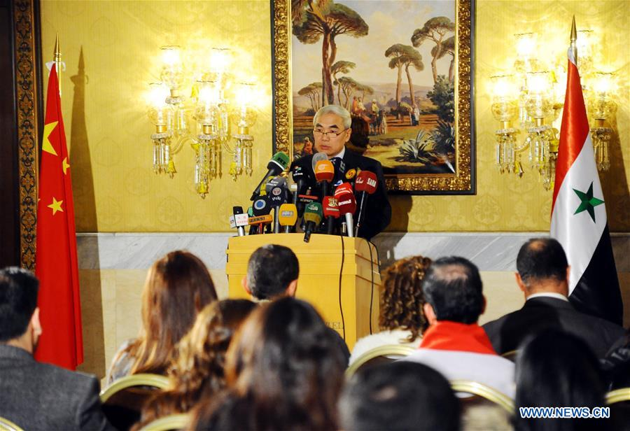 Xie Xiaoyan, Special Envoy of the Chinese Government on Syrian issue, speaks during a press conference in Damascus, Syria, Dec. 8, 2016. The UN Security Council should remain united to reach consensus and form resultant force on ending crisis in Syria, said Xie Xiaoyan during his latest trip to Damascus. (Xinhua/Ammar Safarjalani)