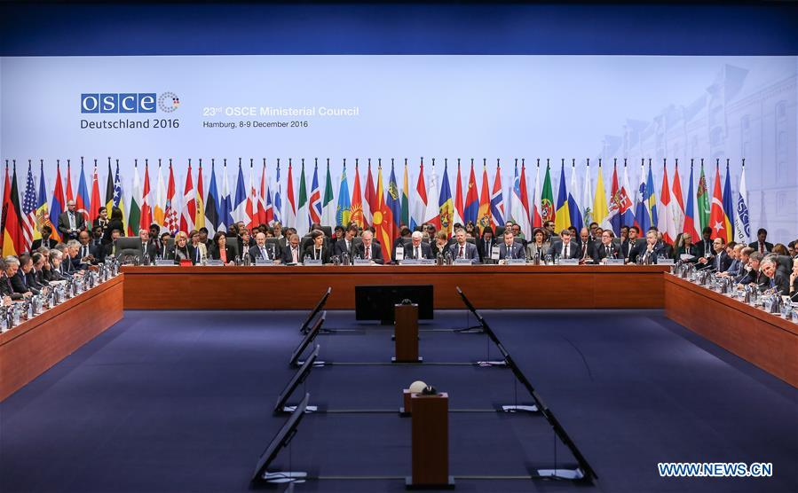 Photo taken on Dec. 8, 2016 shows the opening session of the 23rd annual meeting of Organization for Security and Cooperation in Europe (OSCE) Ministerial Council in Hamburg, northern Germany. The OSCE Ministerial Council convened Thursday its 23rd annual meeting to discuss security issues including conflicts in Ukraine and Syria. (Xinhua/Shan Yuqi)