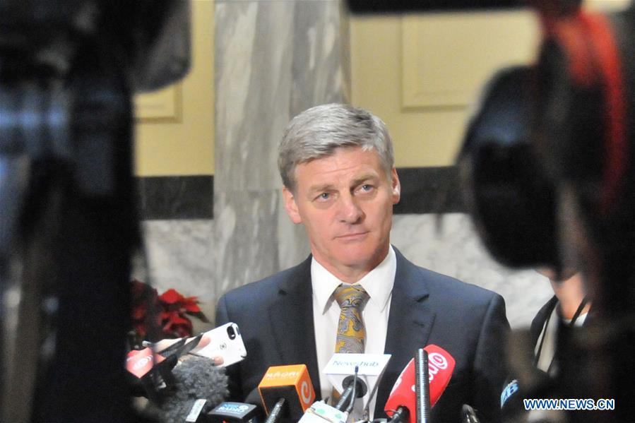 File photo taken onDec. 5, 2016 shows Bill English attending a press conference inWellington, New Zealand. New Zealand
