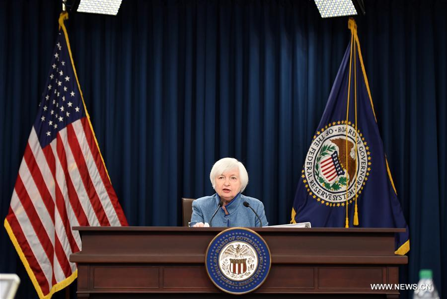 U.S. Federal Reserve Chair Janet Yellen speaks during a news conference in Washington D.C., capital of the United States, Dec. 14, 2016. U.S. Federal Reserve on Wednesday decided to raise benchmark interest rate by 25 basis points, the first and only time in 2016. (Xinhua/Bao Dandan)