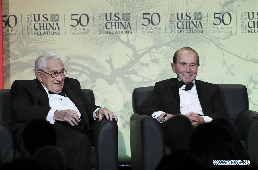 "Former U.S. secretary of state, Dr. Henry A. Kissinger(L) and Maurice Greenberg, Chairman and CEO of C.V. Starr & Co., and former chairman and CEO of American Insurance Group attend an event marking the 50th anniversary of the founding of National Committee on U.S.- China Relations (NCUSCR) in New York, the United States on Dec. 15, 2016. Kissinger and Maurice Greenberg received Lifetime Achievement Award here on Thursday night. ""The fundamental thing to keep in mind is that the peace and progress of the world depend on the abilities of the United States and China to respect each other"