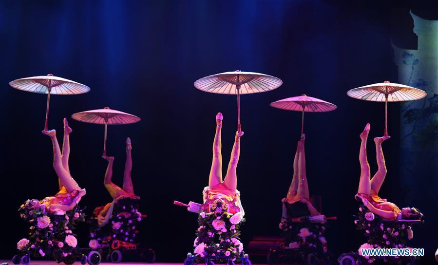 Des membres de la Troupe nationale acrobatique de Chine donnent une représentation lors du troisième Festival chinois de l