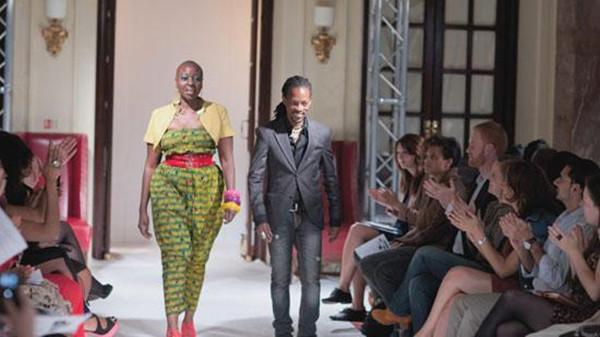 Kaveke (right) at the London Fashion show.