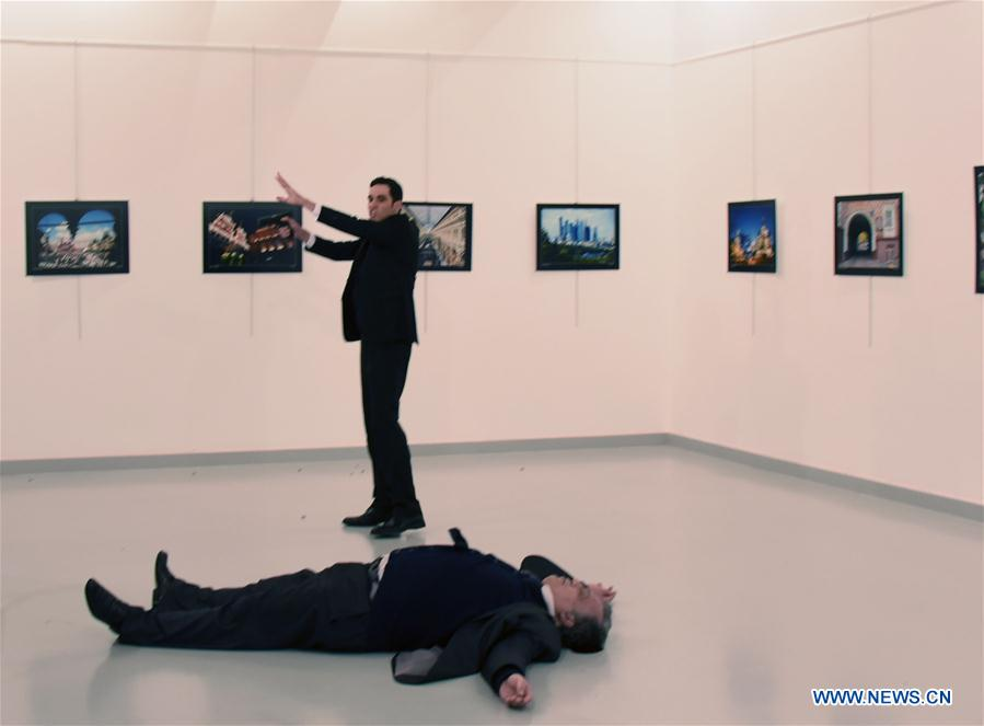 Photo taken on Dec. 19, 2016 shows the scene of the shooting attack in Ankara, Turkey. Russian Ambassador to Turkey Andrey Karlov was killed in a gunman attack at an art exhibition on Monday in Ankara, according to the Russian Foreign Ministry. (Xinhua)