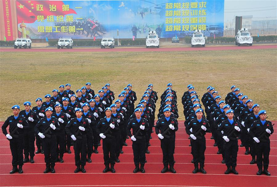 Members of China Standby Peacekeeping Police Force attend the force