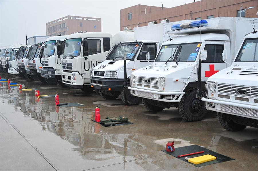 Photo taken on Dec. 22, 2016 shows some police equipments at the founding ceremony of China Standby Peacekeeping Police Force in Dongying City, east China