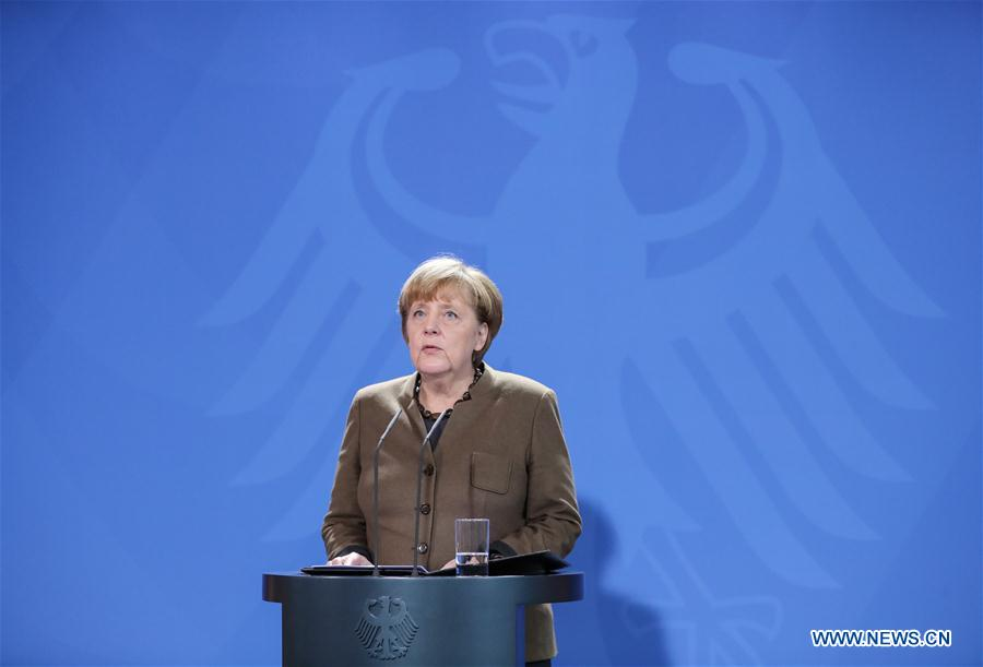 German Chancellor Angela Merkel speaks during a press conference in Berlin, capital of Germany, on Dec. 23, 2016. German Chancellor Angela Merkel said Friday that Germany wanted to increase deportation of failed asylum seekers to ensure better safety in the country. (Xinhua/Shan Yuqi)