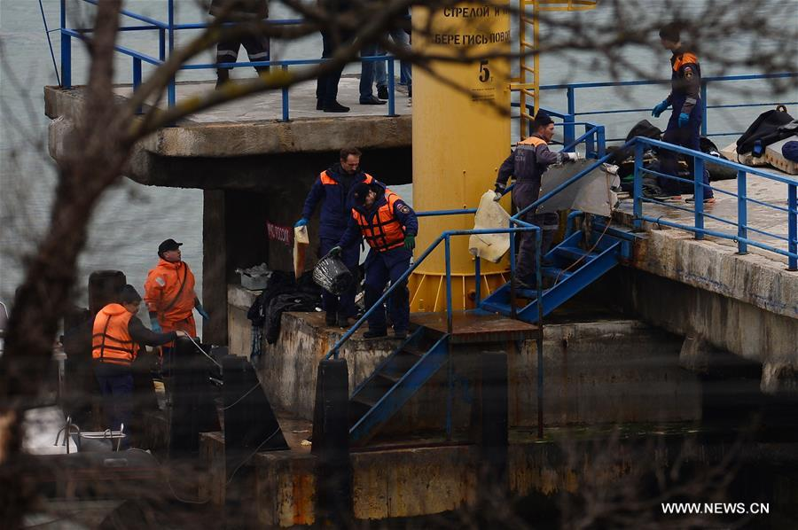 Photo taken on Dec. 25, 2016 shows the rescue operation on the Black Sea coast at the crash site of Russian Defense Ministry