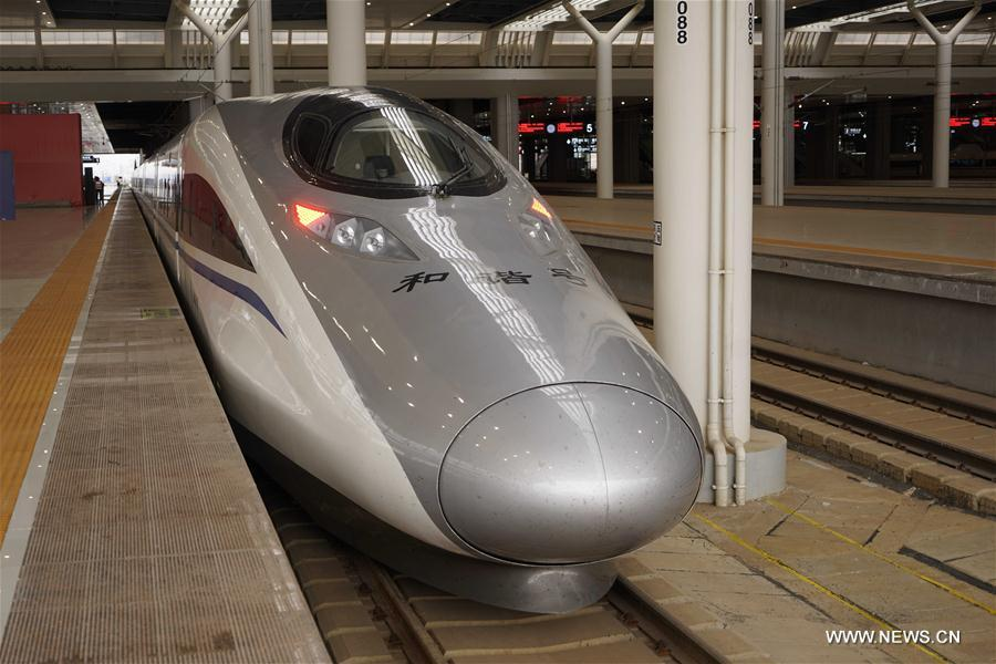 A bullet train is seen at the Kunmingnan Railway Station in Kunming, capital of southwest China