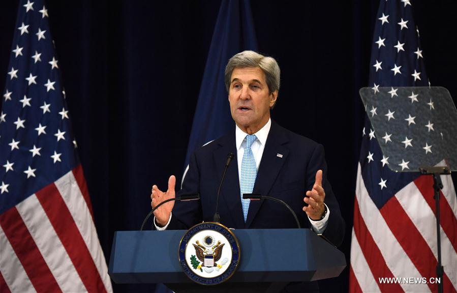U.S. Secretary of State John Kerry delivers remarks on Middle East peace at the U.S. State Department in Washington D.C., the United States, on Dec. 28, 2016. U.S. Secretary of State John Kerry said on Wednesday only two-state solution can achieve a just and lasting peace between Israelis and Palestinians. (Xinhua/Yin Bogu)
