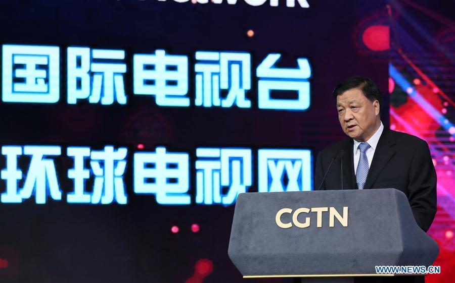 "Liu Yunshan, a member of the Standing Committee of the Political Bureau of the Communist Party of China (CPC) Central Committee and a member of the Secretariat of the CPC Central Committee, attends the launching ceremony of the China Global Television Network (CGTN) in Beijing, capital of China, Dec. 31, 2016. Chinese President Xi Jinping offered congratulations to CGTN launched Saturday, urging it to ""tell China stories well"" to the world. (Xinhua/Ju Peng)"