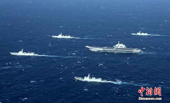 The formation led by the first Chinese aircraft carriers, the Liaoning, in the South China Sea for a training mission on January 2, 2017. [Photo: chinanews.com]