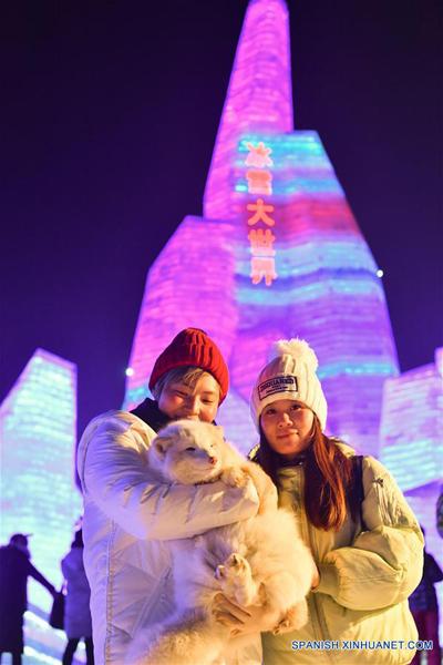 HEILONGJIANG, enero 5, 2017 (Xinhua) -- Personas visitan el Parque Mundo de Hielo y Nieve, en Harbin, capital de la prvincia de Heilongjiang, en el noreste de China, el 5 de enero de 2017. El parque temático que utilizó aproximadamente 330,000 metros cúbicos de hielo y nieve para su construcción abrió el jueves. (Xinhua/Wang Song)
