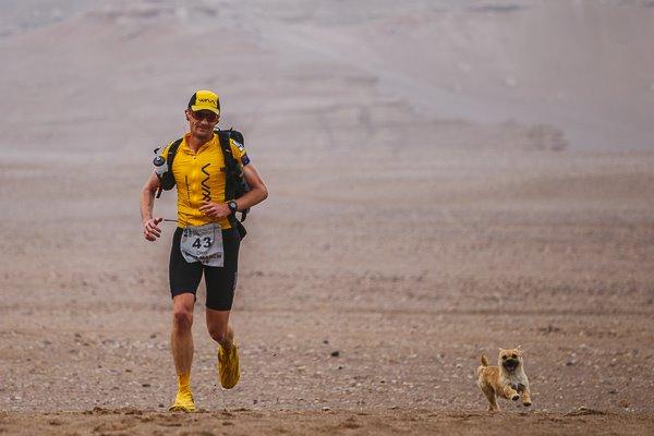 Un hombre lleva a casa el perrito que se le acompañó en el maratón de desierto