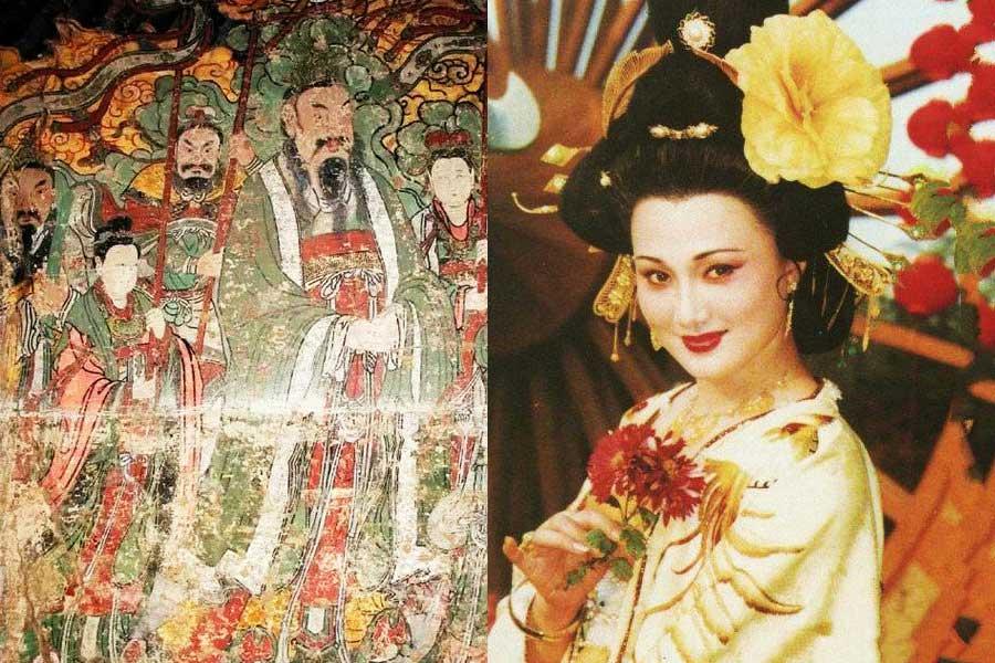 Li Longji portrayed in a fresco (left); Yang Yuhuan played by Lin Fangbing in 1990 TV series Tang Ming Huang. [File photo]