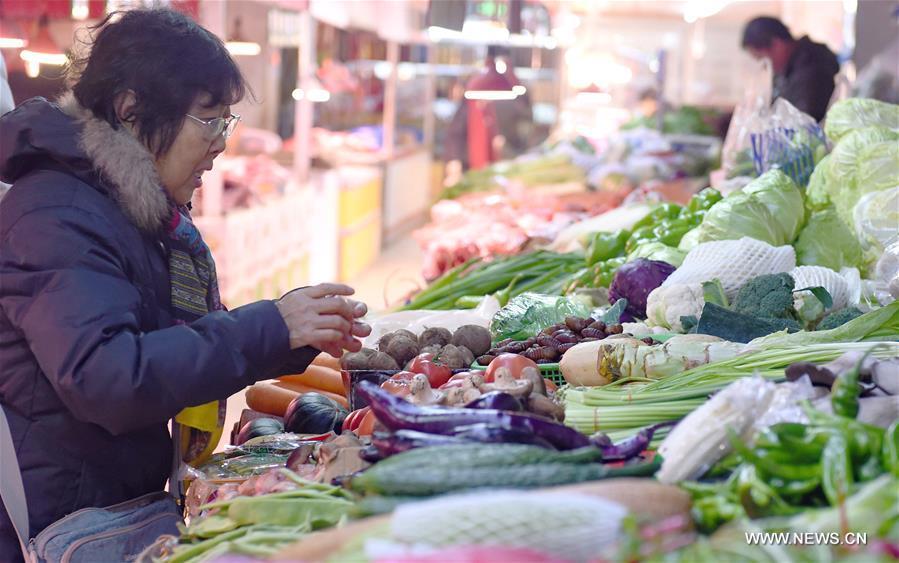 في الصورة الملتقطة يوم 10 يناير، المستهلكة تختار الخضروات في سوق بمدينة تشانغتشون.إن مؤشر أسعار المستهلك الصيني نما بمعدل 2 بالمائة على أساس سنوي في عام 2016