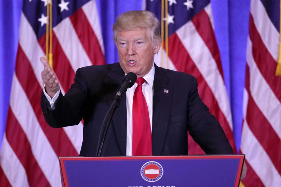 U.S. President-elect Donald Trump speaks during a news conference in New York, the United States, on Jan. 11, 2017. U.S. President-elect Donald Trump met the press Wednesday for the first news conference since the election. (Xinhua/Gary Hershorn)