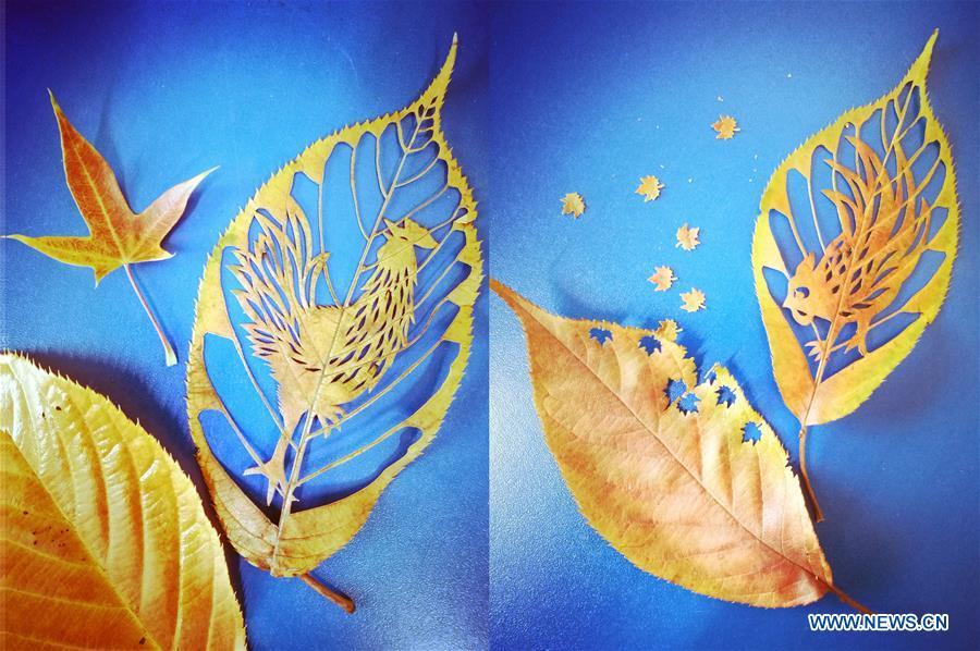 """Des feuilles découpées intitulées """"Rooster"""""""