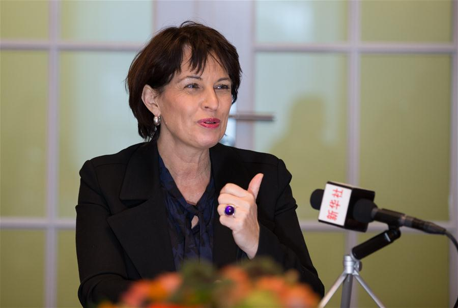 Swiss President Doris Leuthard speaks during an interview with Xinhua in Bern, Switzerland, on Jan. 12, 2017. Swiss President Doris Leuthard said Thursday that the upcoming visit of Chinese President Xi Jinping will have a stabilizing effect on both Europe and the world in light of the many changes and challenges affecting the international landscape. (Xinhua/Xu Jinquan)