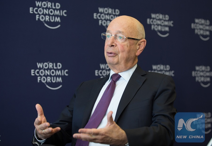 Klaus Schwab, founder and executive chairman of the World Economic Forum (WEF), is interviewed by Xinhua News Agency in Geneva, Switzerland, on Jan. 10, 2017.(Xinhua/Xu Jinquan)