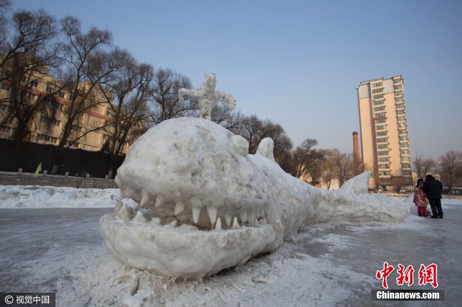 Escultura de nieve del rape