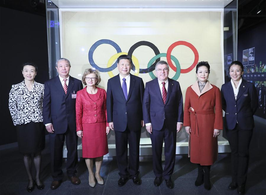 "LAUSANNE, Jan. 18 (Xinhua) -- Chinese President Xi Jinping met with International Olympic Committee (IOC) President Thomas Bach here on Wednesday, and pledged to make Beijing 2022 Winter Olympic Games a ""remarkable, extraordinary and excellent event."""
