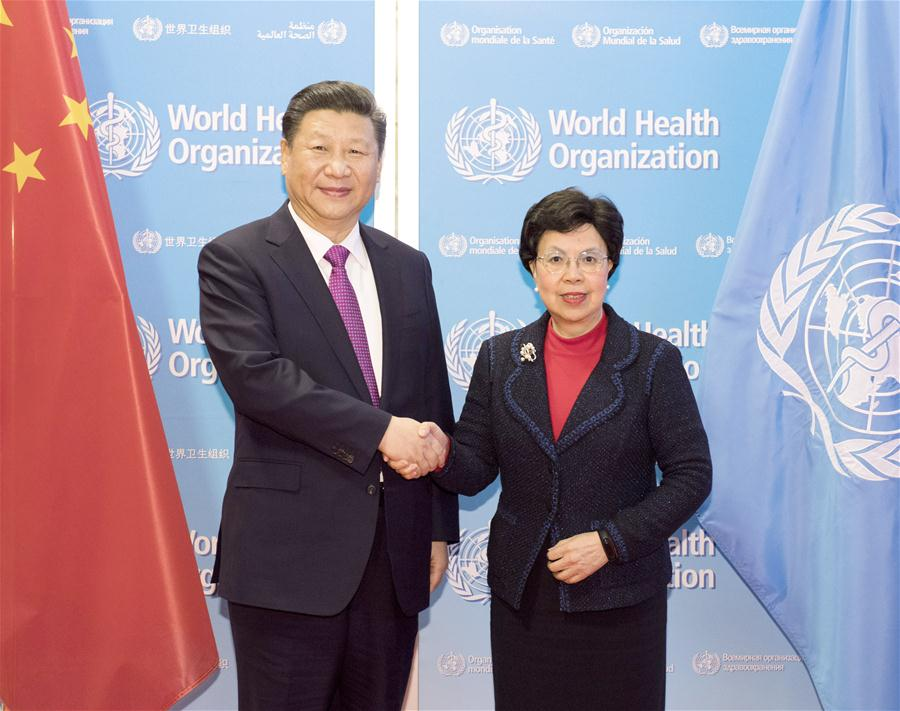 Chinese President Xi Jinping (L) meets with World Health Organization (WHO) Director-General Margaret Chan in Geneva, Switzerland, Jan. 18, 2017. (Xinhua/Li Xueren)