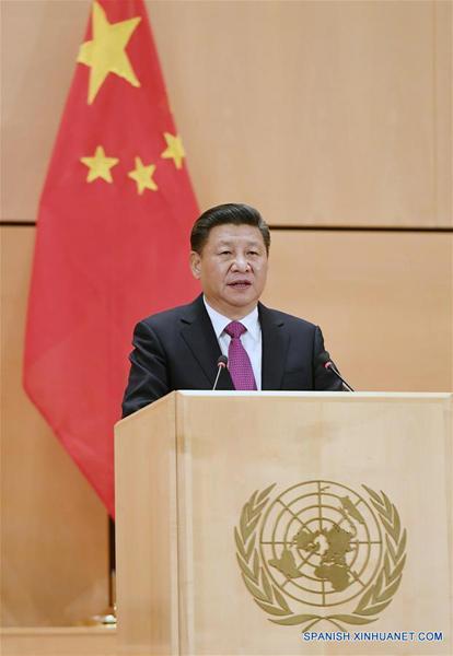 El presidente de China, Xi Jinping, dijo hoy en Ginebra que su país sigue comprometido con la defensa de la paz mundial. (Xinhua/Rao Aimin)