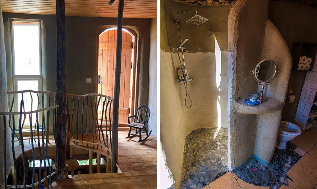 Ils ont construit la maison en utilisant différents matériaux écologiques organiques comme du sable, de l'eau, de l'argile et du bois.