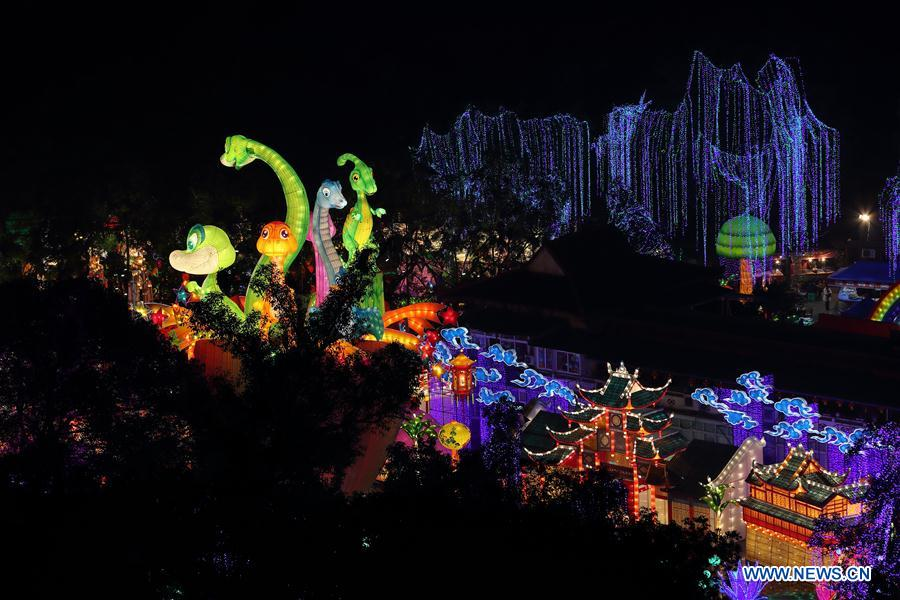 Colored lanterns are displayed during a lantern show in Zigong City, southwest China
