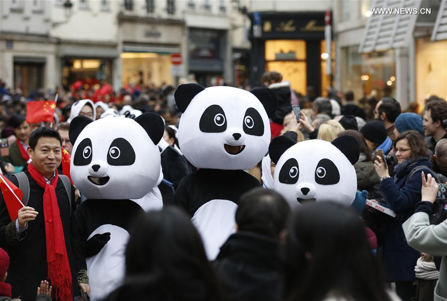 People dressed as giant pandas take part in the Chinese Lunar New Year Parade in downtown Brussels, Belgium, on Jan. 28, 2017. (Xinhua/Ye Pingfan)
