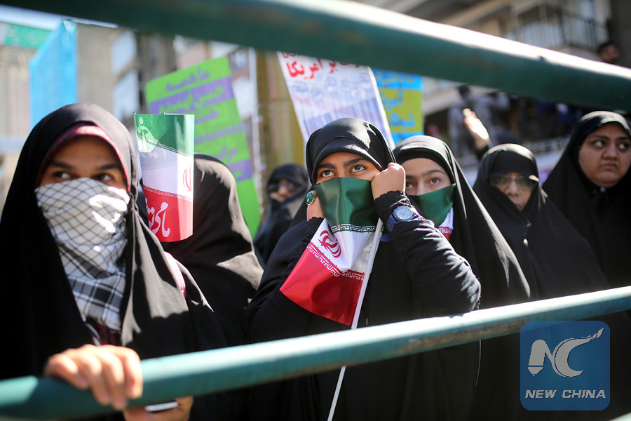 Iranian students take part in a rally marking the 37th anniversary of taking over the U.S. embassy by a group of Iranian students in Tehran, capital of Iran, on Nov. 3, 2016.(Xinhua Photo)