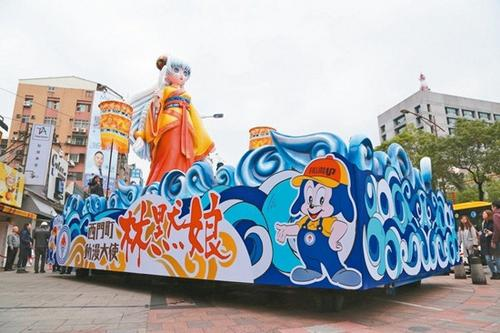 8米高的动漫版林默娘花车已悄悄立在西门町中华路街头