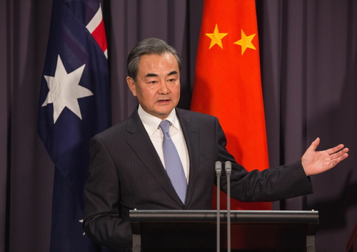 At the press conference after their meeting, Wang Yi says Australia is a friend to both China and the US. Julia Bishop said Australia would play its part in facilitating relations between China the two countries.